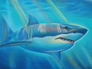 Sharks Pastels Posters - The Deep Poster by Joanna Gates