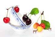 Glass Wall Prints - The deers among cherries and blue-and-white china miniature art Print by Paul Ge