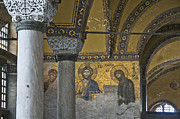 Byzantine Prints - The Deesis mosaic at Hagia Sophia Print by Ayhan Altun