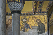 John The Baptist Posters - The Deesis mosaic with Christ as ruler At Hagia Sophia Poster by Ayhan Altun