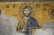 Aya Sofya Prints - The Deisis Mosaic Showing Jesus Christ Hagia Sophia Print by Robert Preston