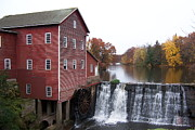 Feed Mill Posters - The Dells Mill and Pond Poster by Jacalyn Feit