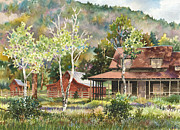 Old Barn Paintings - The DeLonde Homestead at Caribou Ranch by Anne Gifford