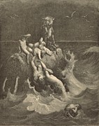 Noah Drawings Framed Prints - The Deluge Framed Print by Antique Engravings