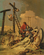 Passions Of Christ Paintings - The Deposition by Giovanni Battista Tiepolo