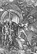Northern Renaissance Framed Prints - The descent of Christ into Limbo Framed Print by Albrecht Duerer