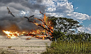 Merged Photo Prints - The destruction of our Land Print by Ronel Broderick