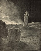 Punishment Drawings Prints - The Destruction of Sodom Print by Antique Engravings