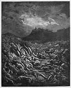 Christianity Drawings - The destruction of the Ammonites and Moabites armies by Oprea Nicolae