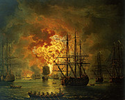 Warship Painting Posters - The Destruction of the Turkish Fleet at the Bay of Chesma Poster by Jacob Philippe Hackert