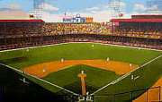 Baseball Stadiums Painting Framed Prints - The Detroit Tigers Briggs Stadium Around 1940 Framed Print by Dwight Goss
