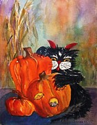 Pumpkins Paintings - The Devil Made Me Do It by Ellen Levinson
