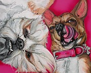 Doggies Paintings - The DevilDoggies by Erlinde Ufkes Stephanus