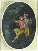 Indian Artist Prints - The Devine Couple 2 Print by Jitendra r Sharma