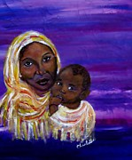 Spiritual Portrait Of Woman Prints - The Devotion Of A Mothers Love Print by The Art With A Heart By Charlotte Phillips
