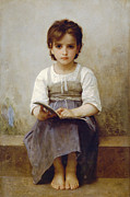 Little Girl Prints - The Difficult Lesson Print by William Bouguereau