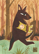 Earth Tones Drawings Prints - The Dingo Stole My Baby Print by Kate Cosgrove