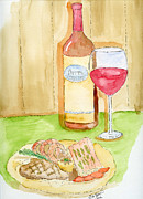 Food And Beverage Drawings Originals - The Dinner by Eva Ason