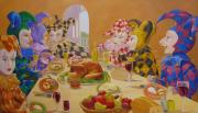 Jester Paintings - The Dinner Party by Leonard Filgate