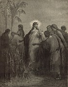 Bible Drawings Metal Prints - The Disciples Plucking Corn on the Sabbath Metal Print by Antique Engravings
