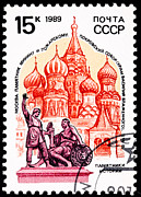 Union Square Prints - The Dmitry Pozharsky and Kuzma Minin Monument in Red Square Moscow  Print by Jim Pruitt