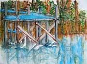 Swimming Hole Paintings - The Dock by Elaine Duras