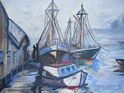 Water Vessels Paintings - The Dock by Leslie Manley