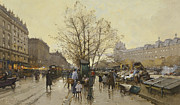 19th Century Painting Prints - The Docks of Paris Les Quais a Paris Print by Eugene Galien-Laloue