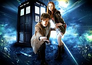 Tardis Mixed Media Framed Prints - The Doctor and Amy Pond Framed Print by Kenneth A Mc Williams