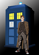 Tardis Framed Prints - The Doctor and his Tardis 2 Framed Print by Jennifer Urciuolo
