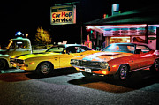 Car Posters Posters - The Dodge Boys - Cruise Night at the Sycamore Poster by Thomas Schoeller