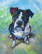 Boxer Puppy Painting Framed Prints - The Dog Framed Print by Ellen Marcus