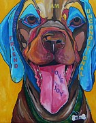 Smiling Painting Posters - The DOG Poster by Patti Schermerhorn