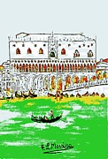 Gondola Mixed Media Framed Prints - The Doges Palace Framed Print by Loredana Messina