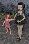 Creepy Digital Art Metal Prints - The Doll and Her Child Metal Print by Liam Liberty