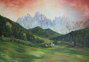 Churches Painting Originals - The Dolomites Italy by Jean Walker