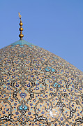 Allah Photos - The dome of the Lotfallah mosque at Isfahan in Iran by Robert Preston