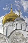 Religious Art Photos - The Domes of Archangel Cathedral by Elena Nosyreva