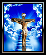 Jesus Cross Framed Prints Posters - The Door 2 Poster by Karen Showell