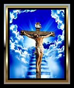 Jesus Cross Framed Prints Posters - The Door 3 Poster by Karen Showell