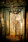 Tibetan Buddhism Prints - The door of old monastery Swamuboudnath Print by Raimond Klavins