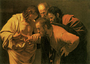 Caravaggio Painting Metal Prints - The Doubting of St Thomas Metal Print by Caravaggio