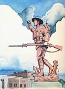 Ww1 Paintings - The Doughboy Stands by Katherine Miller