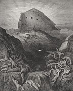 Floods Drawings Posters - The Dove Sent Forth From The Ark Poster by Gustave Dore