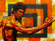Bruce Lee Paintings - The Dragon by Bobby Zeik