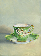 Porcelain Paintings - The Dragon Teacup by Marguerite Chadwick-Juner
