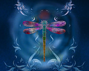 Insect Mixed Media Prints - The Dragonfly Effect Print by Bedros Awak