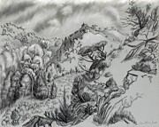 Mountain Scene Drawings Prints - The Draw from the North Wall - field sketch Print by Dawn Senior-Trask