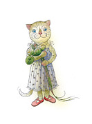 Blue Flowers Drawings - The Dream Cat 01 by Kestutis Kasparavicius