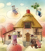 Clouds Painting Framed Prints - The Dream Cat 05 Framed Print by Kestutis Kasparavicius